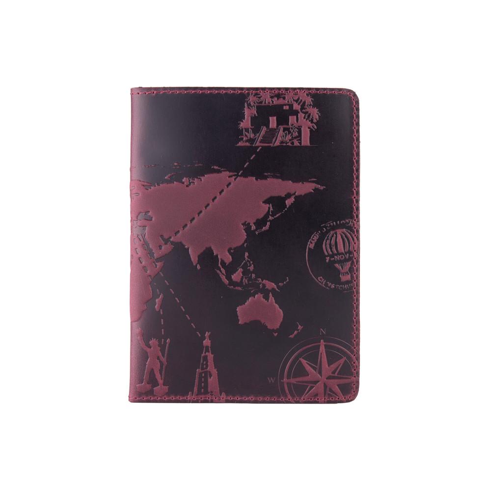 """Фиолетовая дизайнерская кожаная обложка для паспорта, коллекция """"7 wonders of the world"""""""