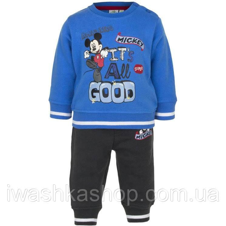 Теплый костюм на мальчика с Микки Маусом, свитшот и штаны, р. 74 на 12 месяцев, Disney baby