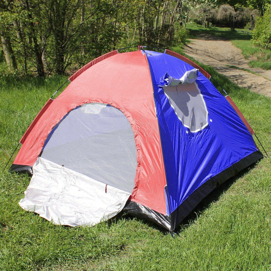 Палатка туристическая  2х- местная дуговая 200х150 см (Красно-Синяя)