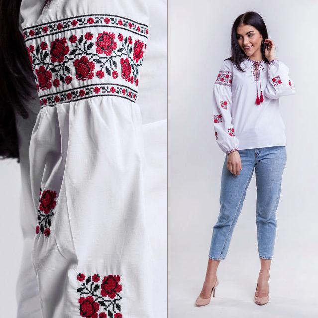 Вышиванка блузка для девочки в украинском стиле Розы 116 - 158 см.
