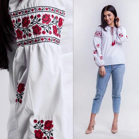 Вышиванка блузка для девочки в украинском стиле Розы 116 - 158 см., фото 2