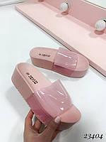 Р.39 Женские Нежно -Розовые Шлёпанцы на толстой подошве