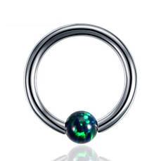 Кольцо с изумрудным опалом (титан, серебристый)