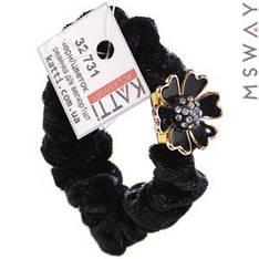 KATTi Резинка для волос 32 731 средняя Велюр жатая с брошкой цветок (1шт) Ш1,5Д6 черная
