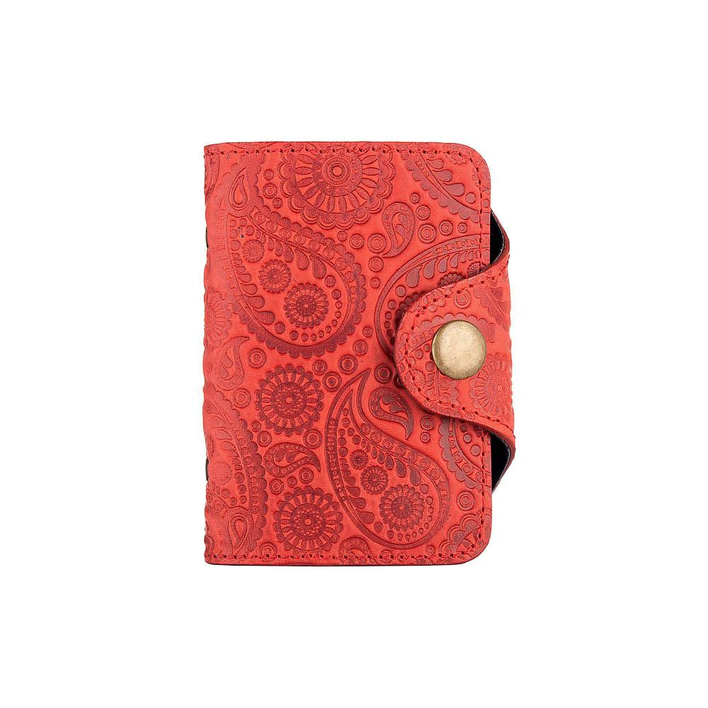 """Удобный кожаный картхолдер красного цвета с художественным тиснением """"Buta Art"""""""