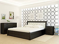 Кровать деревянная YASON Las Vegas PLUS Орех Вставка в изголовье Titan Kashtan (Массив Ольхи либо Ясеня), фото 1