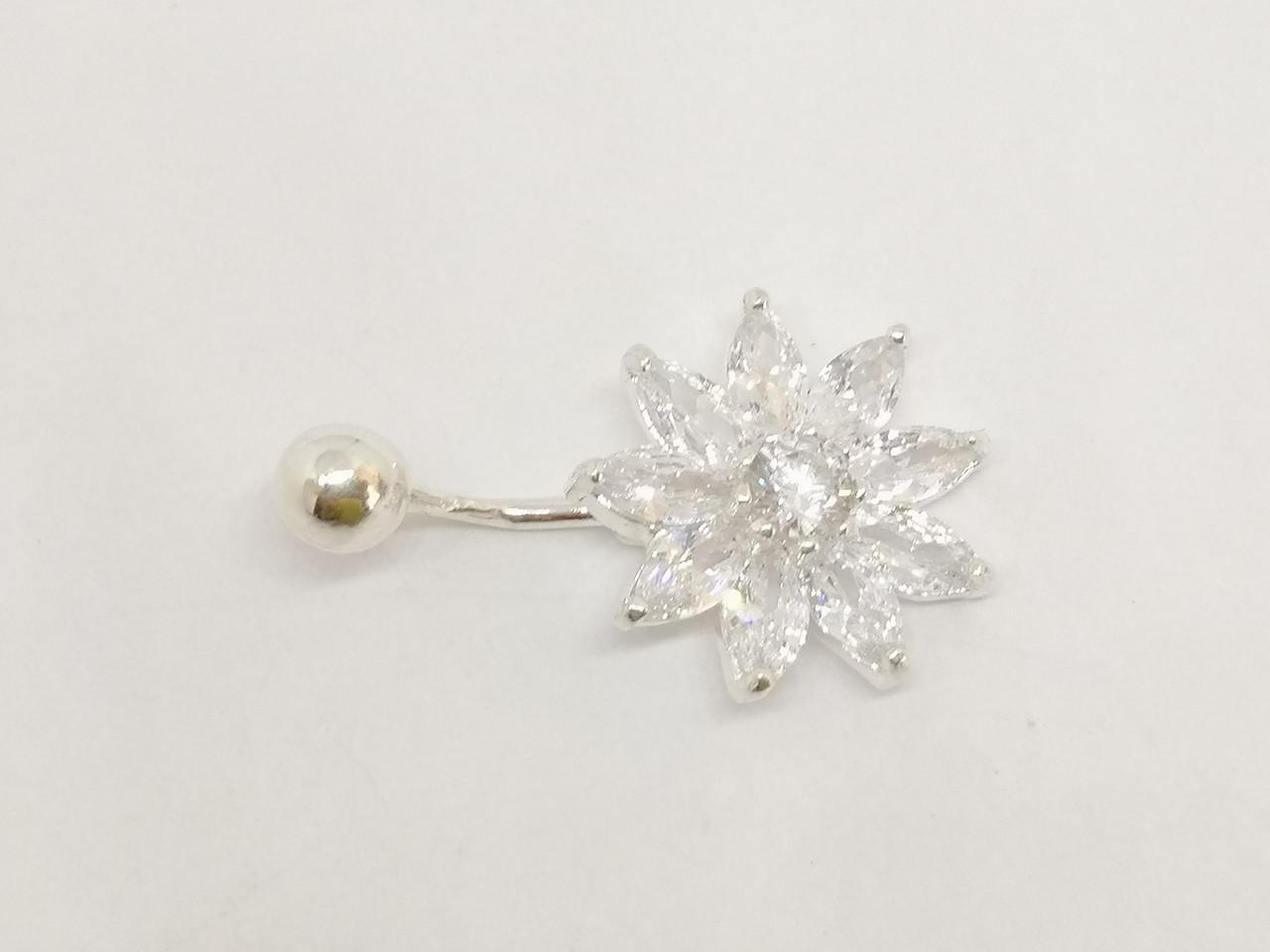 Срібна сережка для пірсингу пупкаС фіанітами. Артикул 6043-15