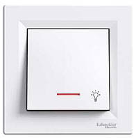 """Кнопка """"Свет"""" с подсветкой Schneider Electric Asfora Белая"""