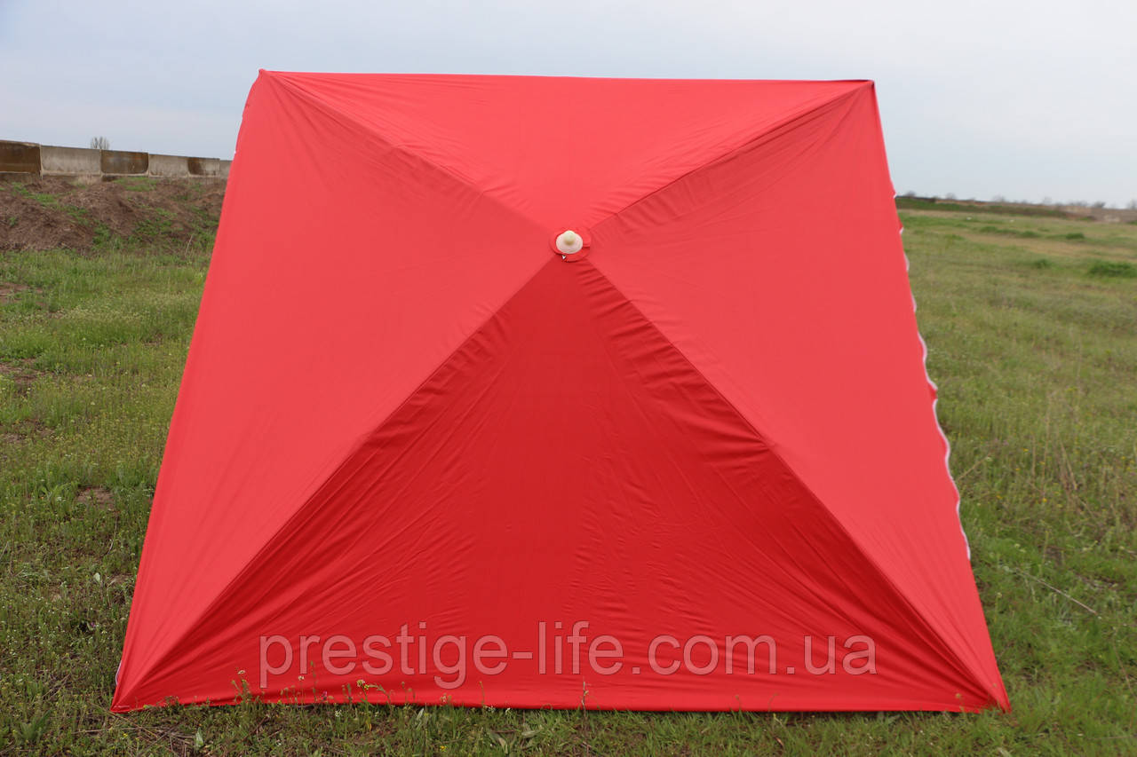 Пляжный, садовой, торговый Зонт 3х3 м. Серебренное покрытие. Красный