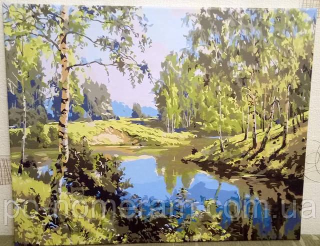 Рисуем по номерам акриловыми красками пейзаж с березами