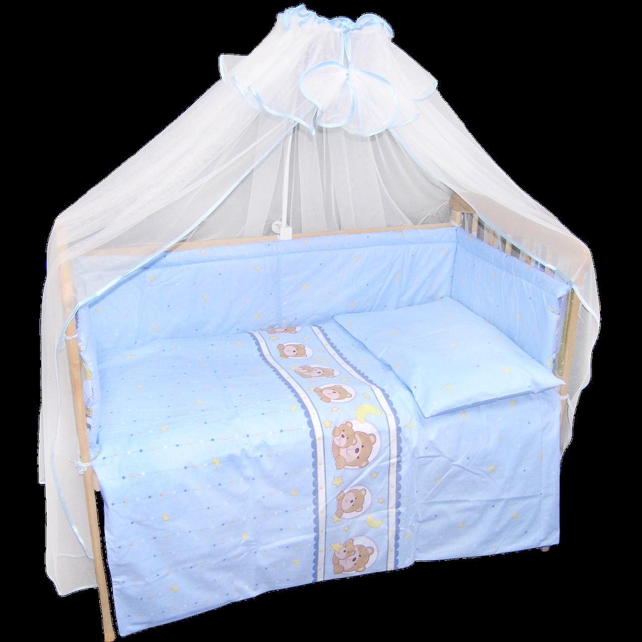 Набір в дитячу кроватку з 7 предметів: постіль, захист, балдахін, велика одягнуло 140х100,подушка,100% бавовна