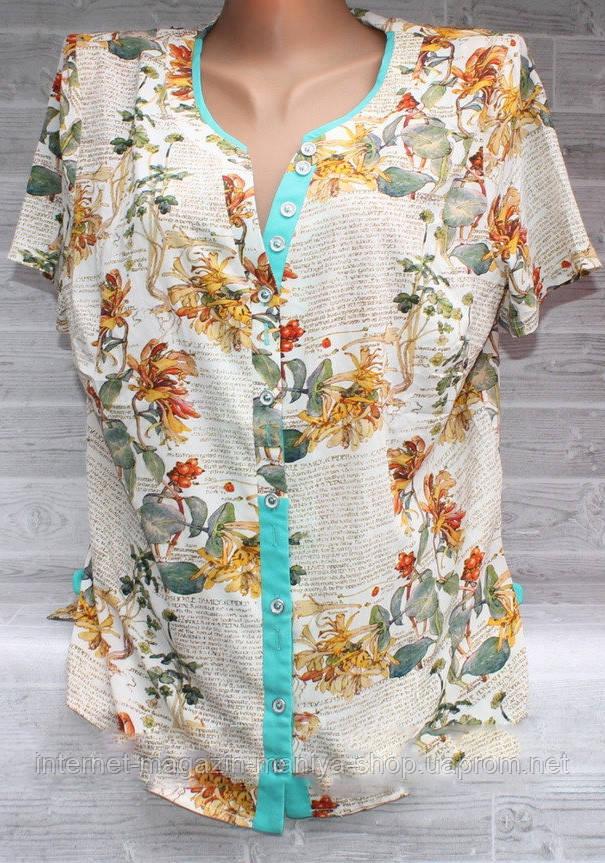 Блузка женская 3309 пуговички принт цветы 48-56 полубатал (лето)