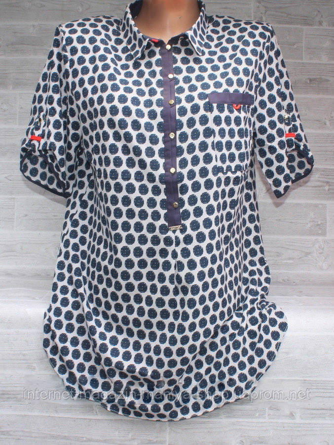 Блузка женская 3294 пуговички принт крупный горох 48-56 полубатал (лето)