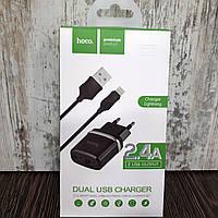 Зарядное устройство Hoco C12 2USB (2.4A) + Lightning to USB (1m)