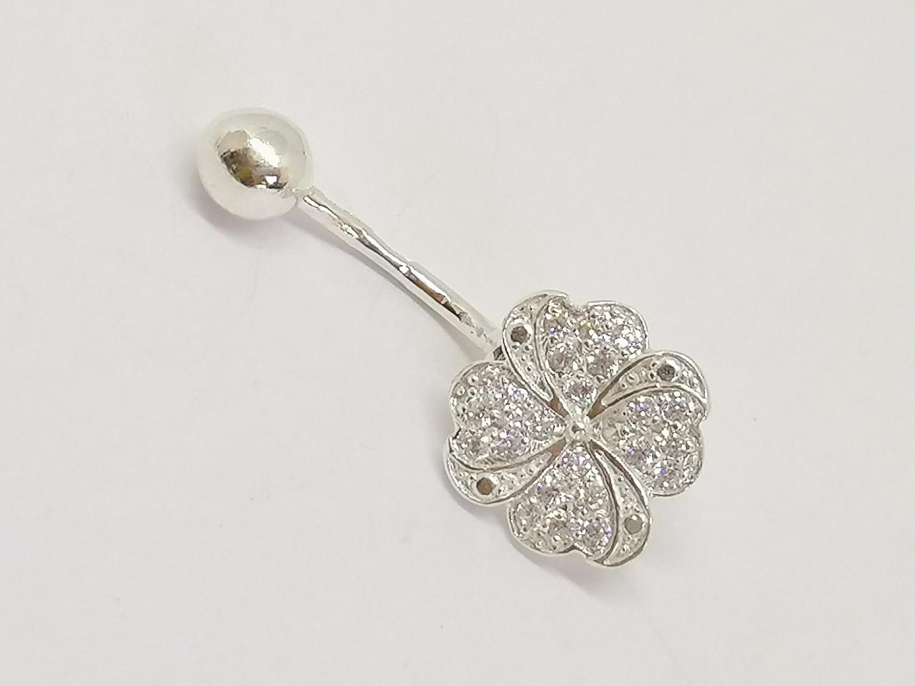 Серебряная серьга для пирсинга пупка с фианитами. Артикул 6070-11