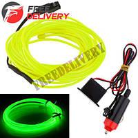 Гибкий неон cветопровод EL неоновая подсветка салона авто 5м, зеленая