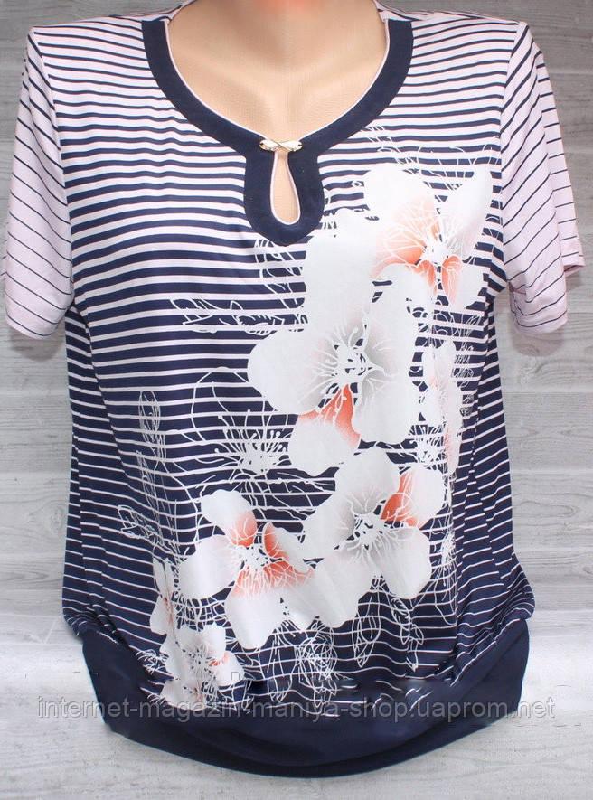 Блузка женская 3264 полоска цветы 48-56 полубатал (лето)