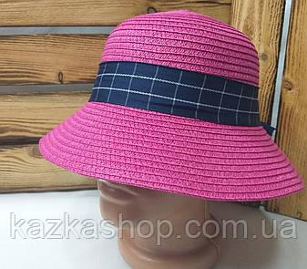 Женская соломенная шляпка с узкими полями, декоративная вставка по кругу тульи, размер 56-58, фото 2