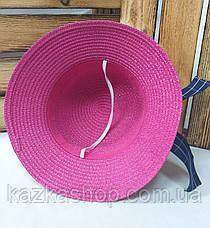 Женская соломенная шляпка с узкими полями, декоративная вставка по кругу тульи, размер 56-58, фото 3