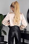 Нарядная шелковая блуза с длинным рукавом бежевая, фото 3