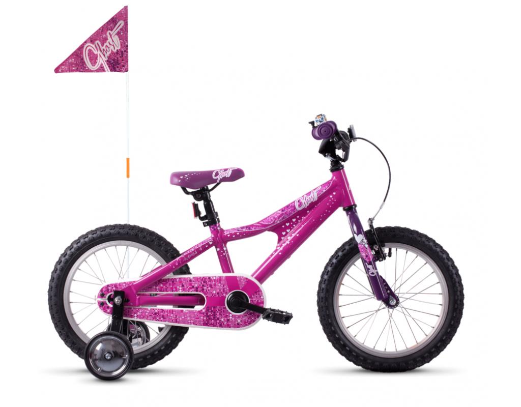 "Велосипед Ghost POWERKID 16"" , розово-фиолетово-белый, 2019"