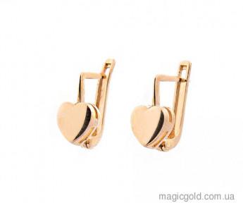 Детские золотые сережки Сердечки