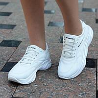 Белые кроссовки женские кожаные на платформе, на толстой подошве (Код: Б1482а)