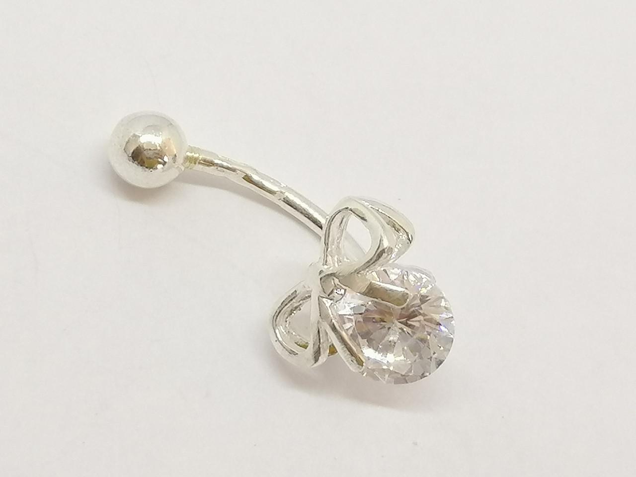 Серебряная серьга для пирсинга пупка с фианитами. Артикул 6-5485