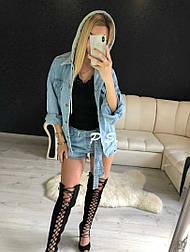 Женская стильная джинсовая куртка с капюшоном (джинсовка)