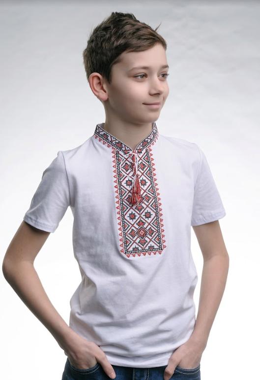 Вышитая футболка для мальчика трикотажная