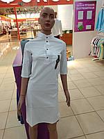Платье - рубашка женское белое, отлично смотрится под спортивную обувь. размер-42,