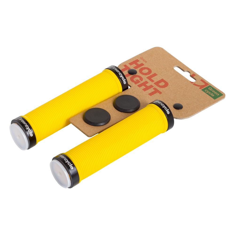 Грипсы Green Cycle GC-G211 130mm желтый с двумя черными замками