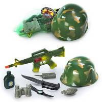 Набор военного с каской 8011 каска 21см, автомат трещ. 37см, фляга, нож, рация, часы, грана