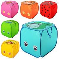 Корзина для игрушек M2508  животные, 6 видов, размер 45*45*45см, крышка на липучке, ручки, в пакете