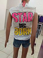Рубашка женская без рукавов, в 3х вариантах (голубая, розовая, белая) 100% хлопок.