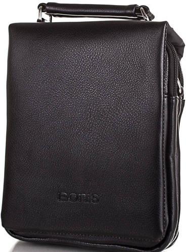 Мужская удобная сумка из качественного кожзама BONIS (БОНИС) SHIS8612-black черный