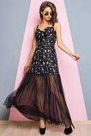 Платье женское вечернее черного цвета с фатиновой юбкой, платье нарядное длинное в пол, платье коктейльное