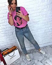 Розовая женская футболка с модным принтом 42-46 р, фото 3