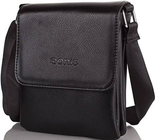 Мужская удобная сумка из качественного кожзама BONIS (БОНИС) SHIS8593-black черный
