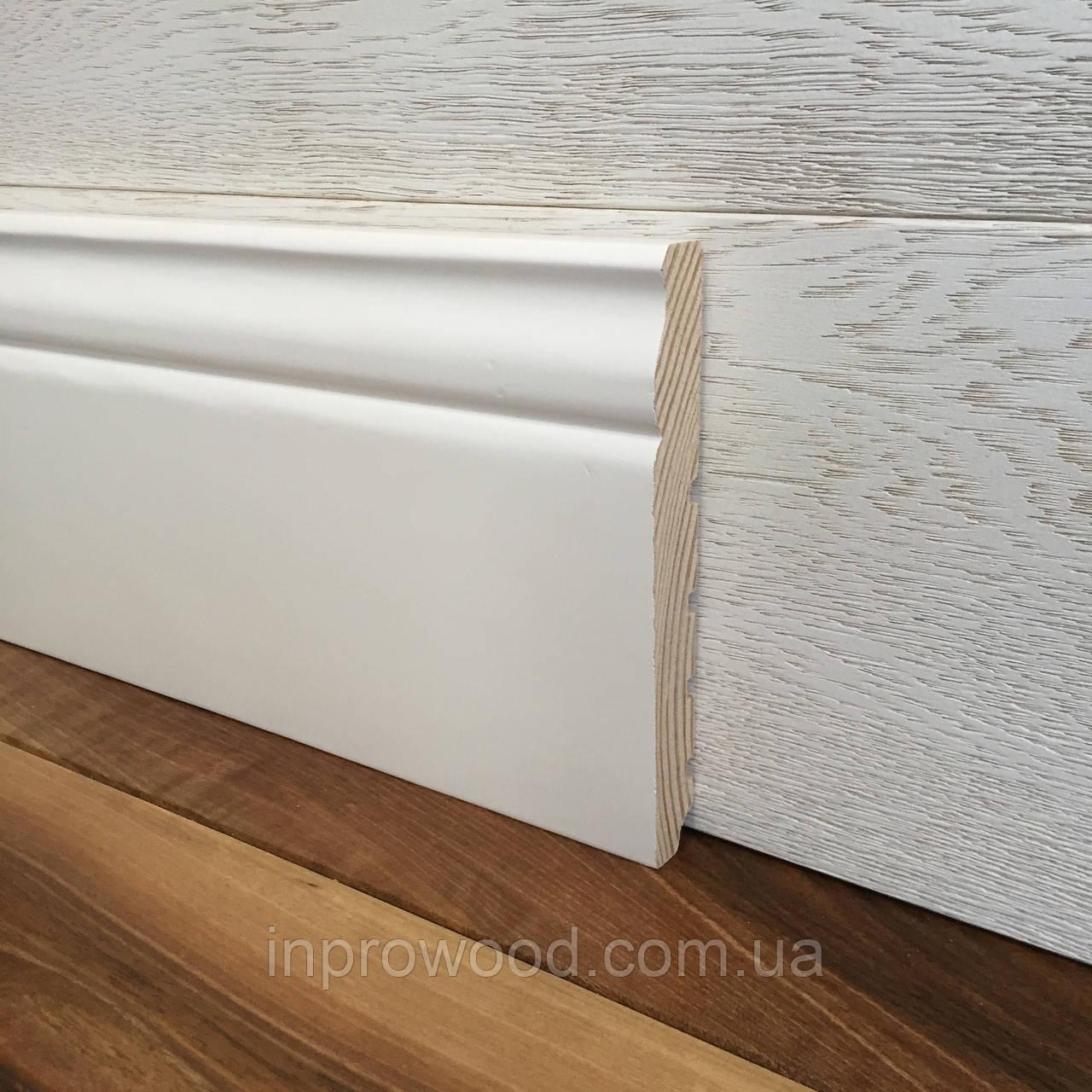 """""""Классик"""" 140х20 мм, Высокий белый деревянный плинтус из Ольхи"""