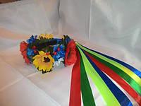 """Венок-обруч """" Украинский с ленточками"""" Цветы: маки, васильки, ромашки, подсолнухи, калина."""