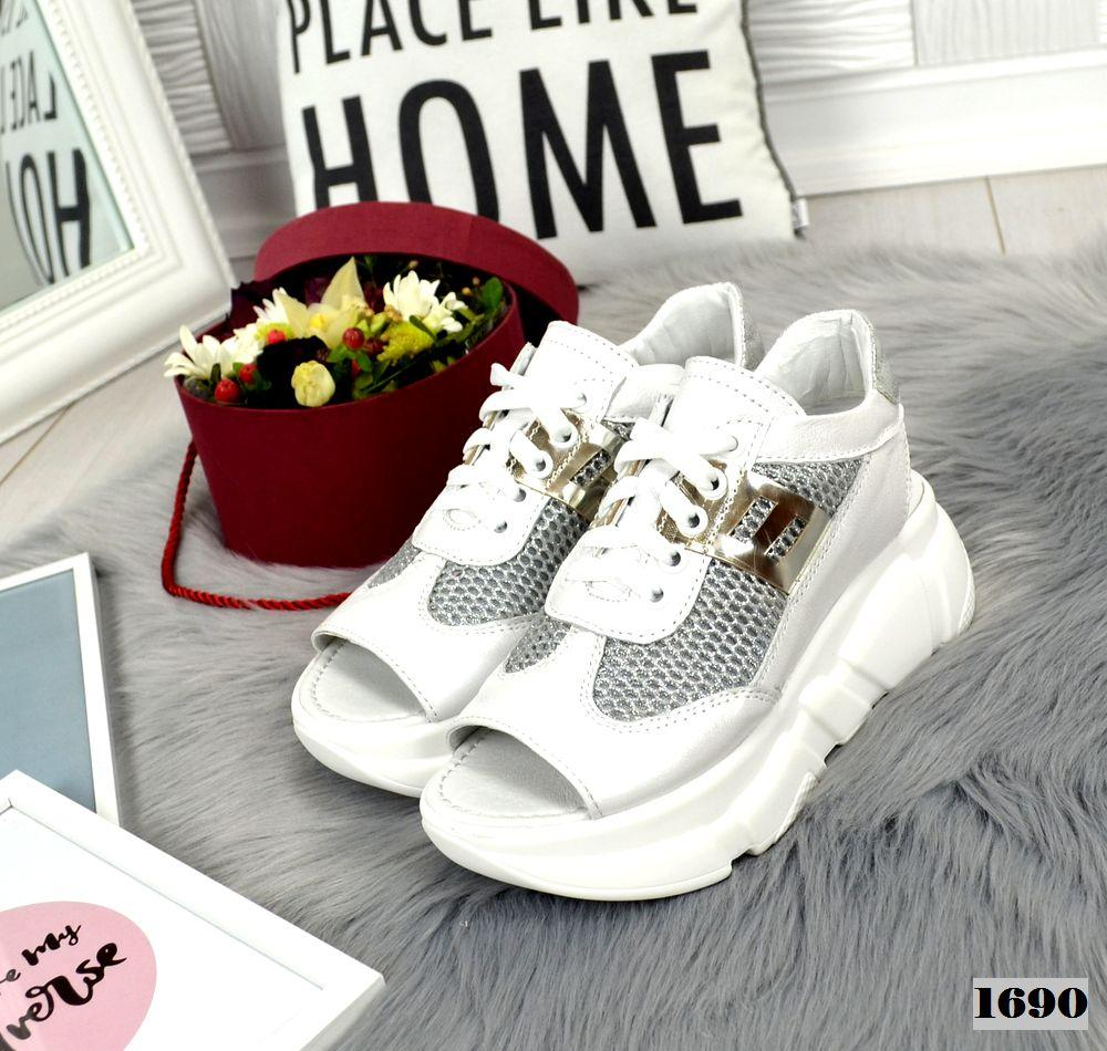 Кросівки жіночі шкіряні літні білі