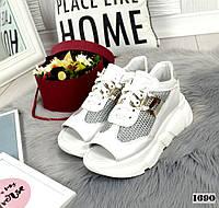Кросівки жіночі шкіряні літні білі, фото 1