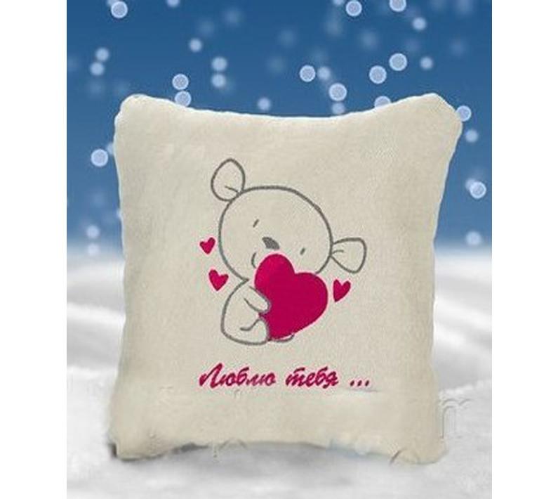 "Декоративная подушка с вышивкой ""Люблю тебя"", фото 1"