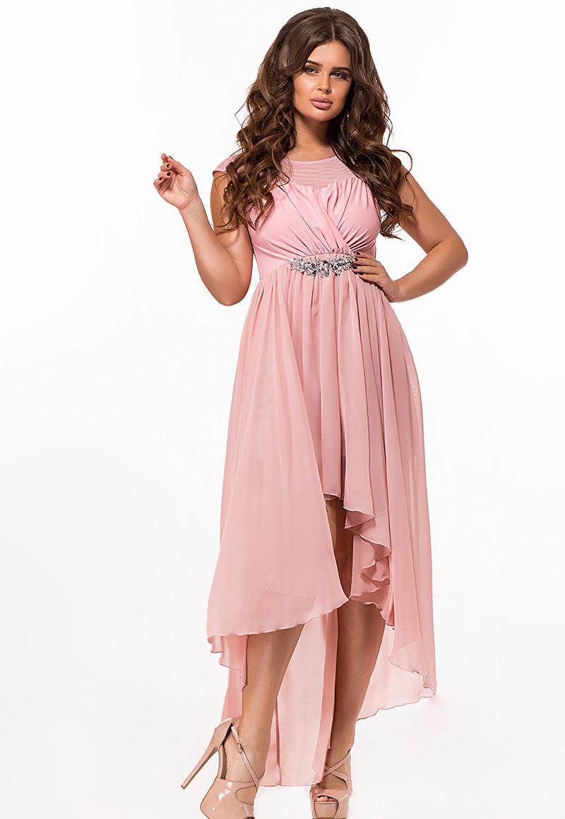 / Размер 42-46 / Женское вечернее платье со шлейфом 29363 цвет пудра
