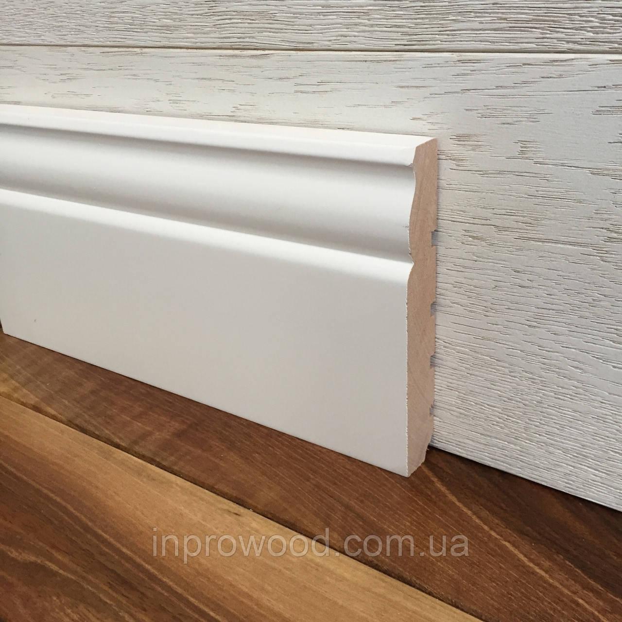 """""""Классик"""" 120х20 мм, Высокий белый деревянный плинтус из Ольхи"""