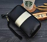 Клатч жіночий гаманець шкіряний (чорний з золотистим), фото 3