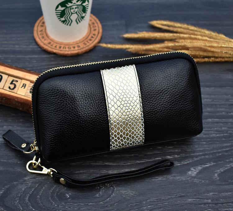 Клатч жіночий гаманець шкіряний (чорний з золотистим)