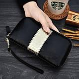 Клатч жіночий гаманець шкіряний (чорний з золотистим), фото 2