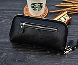 Клатч жіночий гаманець шкіряний (чорний з золотистим), фото 9